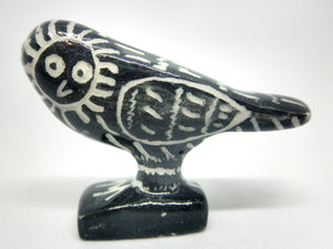Miniature Picasso inspired ceramic sculpture -  dark owl 1