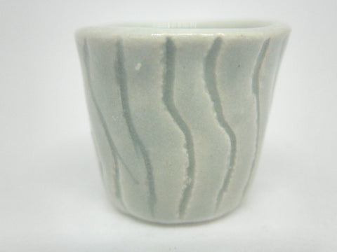 Miniature ceramic planter - Carved Celadon