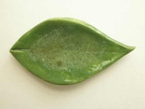 Miniature ceramic leaf -  green