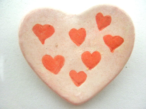Miniature ceramic plate - Heart shaped decorated with hearts