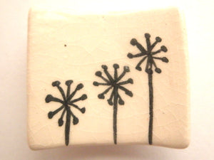 Miniature ceramic plate - rectangular with dandelions