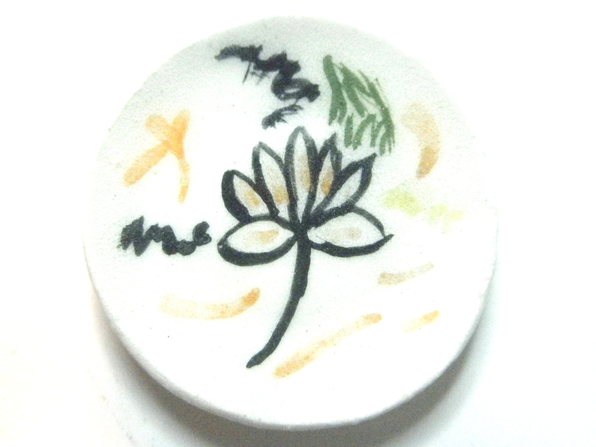 Miniature ceramic plate - lotus flower