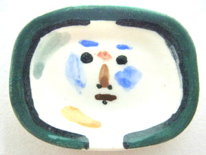 Miniature Picasso inspired ceramic plate -  face with green border
