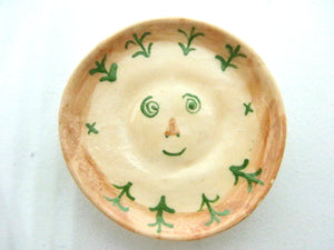 Miniature Picasso inspired ceramic dish - face with greenery