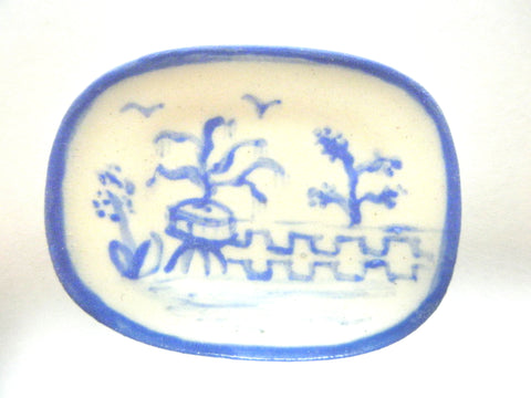 Blue and White Oriental Ceramic oblong plate - potted tree