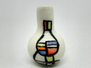 Miniature modern ceramic vase with geometric design