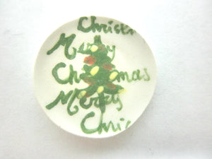 Miniature Christmas plate - Christmas tree Merry Christmas