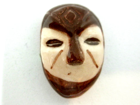 Miniature African art mask brown and beige