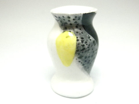 Miniature ceramic vase art deco black, white and yellow