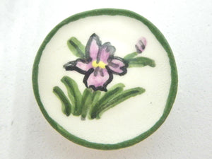Miniature ceramic plate purple flower with green border