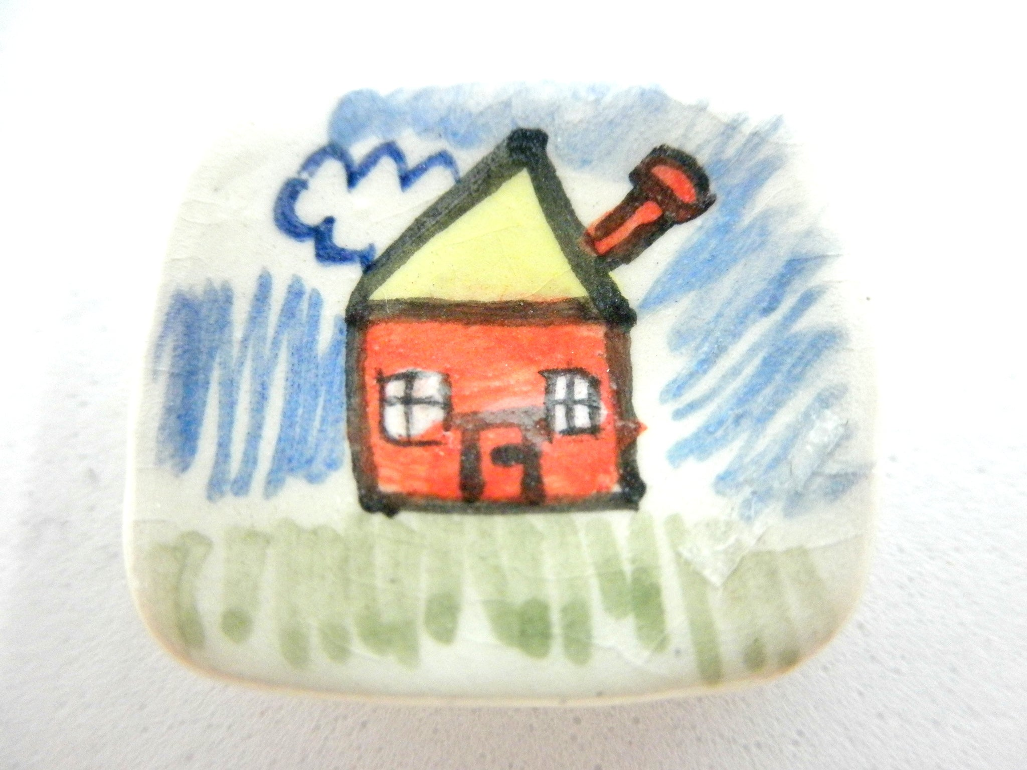 Miniature ceramic plate child's drawing of a house