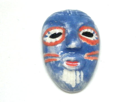 Miniature African art mask- blue