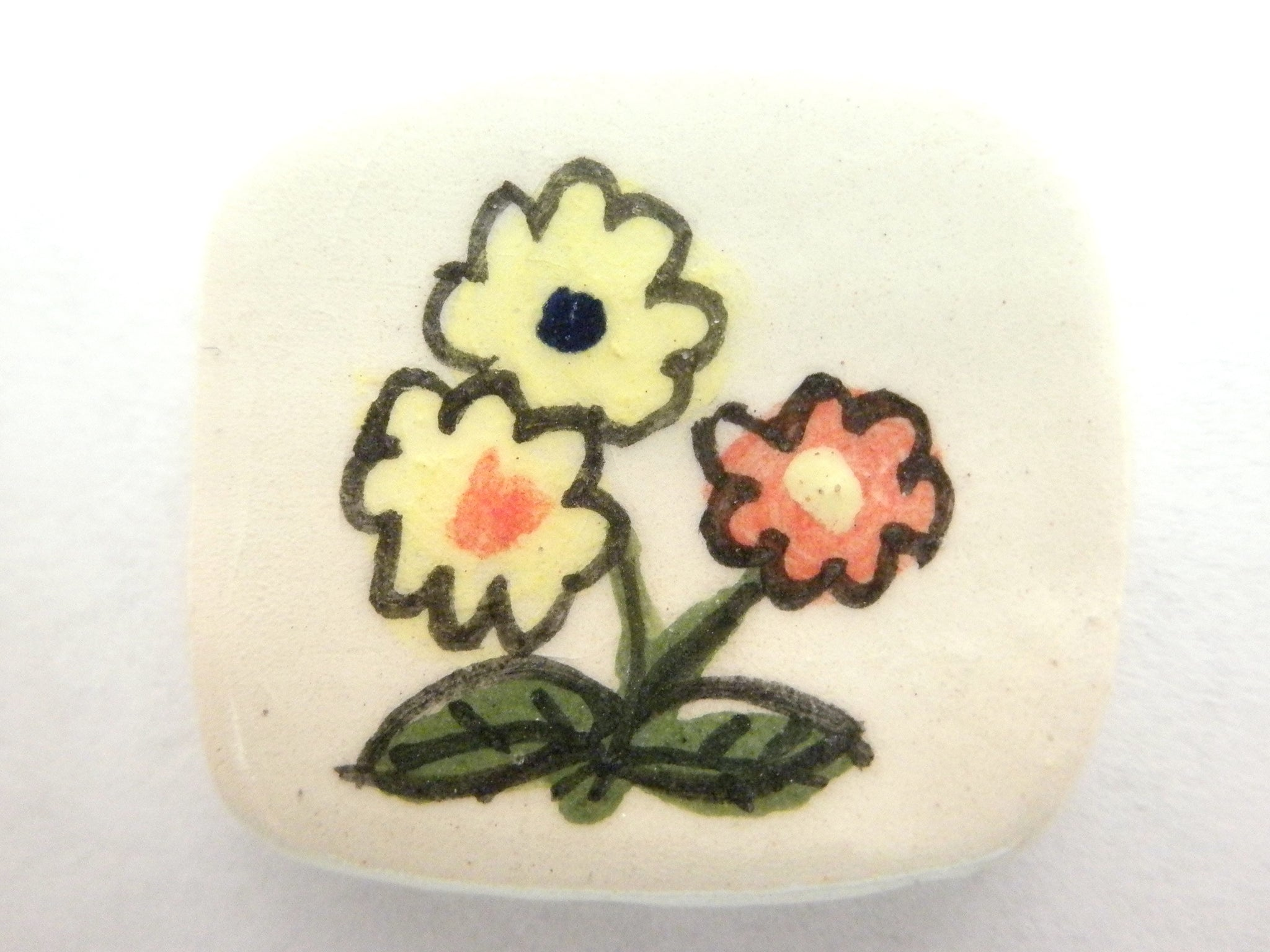Miniature ceramic plate child's drawing of flowers