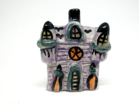 Miniature Ceramic Halloween hounted house with towers