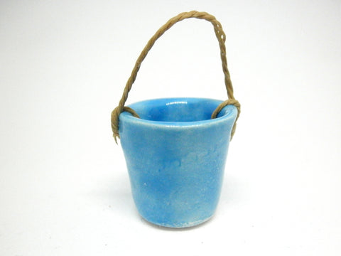 Miniature ceramic water bucket - blue