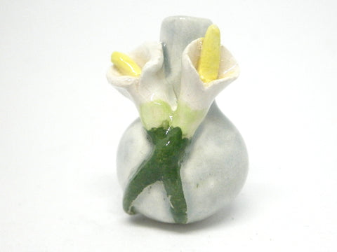 Miniature ceramic vase celadon with lilies