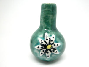 Miniature ceramic vase green with polka dot daisy