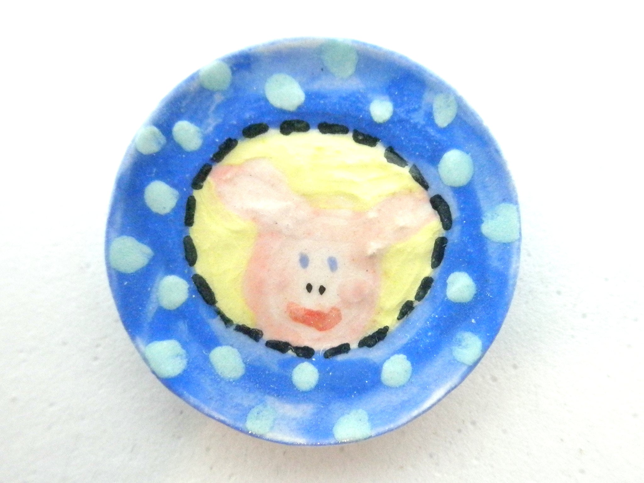 Miniature ceramic child plate - pig