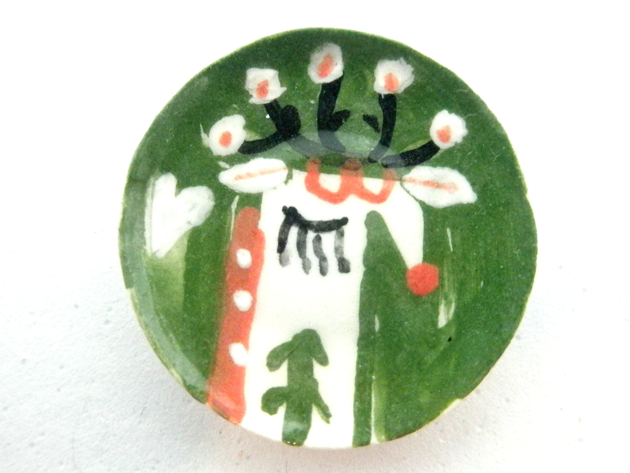 Miniature Christmas plate - reindeer head