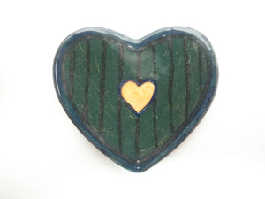Miniature ceramic plate - Heart shaped with stripes