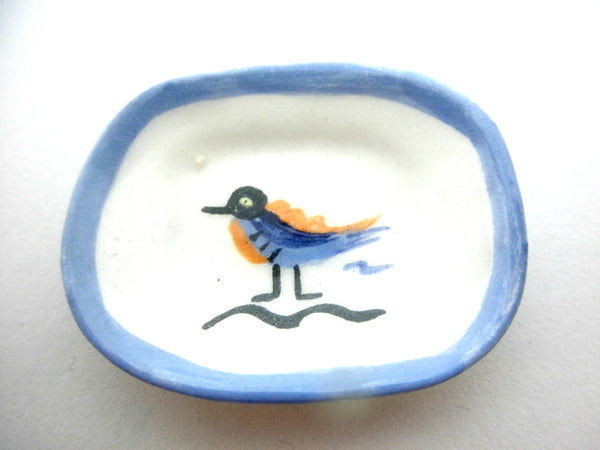 Miniature Picasso inspired ceramic plate -  blue bird