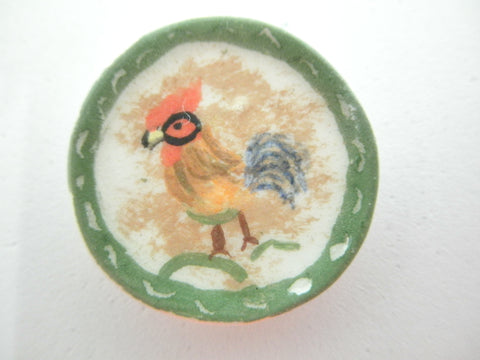 Miniature ceramic plate - French country rooster