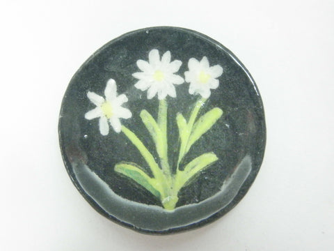 Miniature ceramic plate - 3 Daisies on black