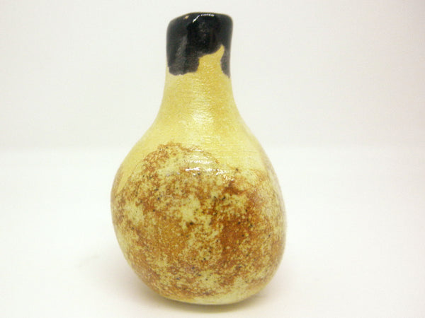 Miniature ceramic gourd vase with brown and black glaze