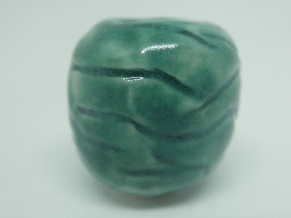 Dollhouse Miniature carved vase turquoise
