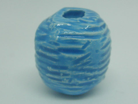 Dollhouse Miniature vase striped Basque blue