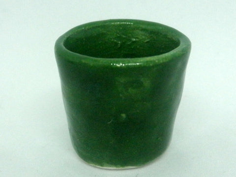 Miniature ceramic bright green planter