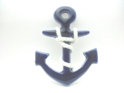 Miniature nautical wall decor blue anchor