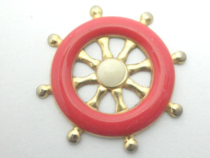 Miniature nautical wall decor red ship wheel