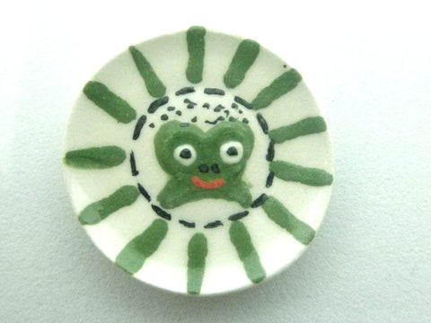 Miniature ceramic child plate - frog