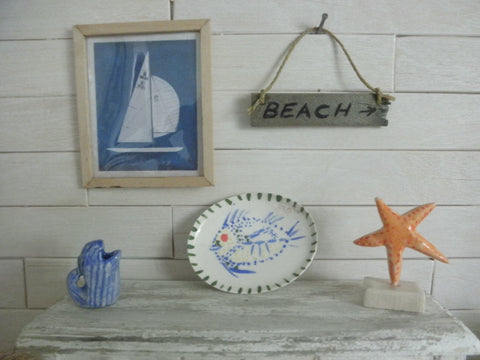 Miniature nautical wall decor sail boat