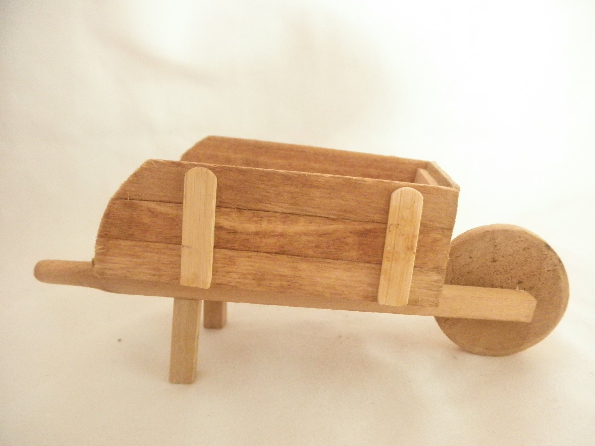 Miniature wood wheel barrel - Natural pine color