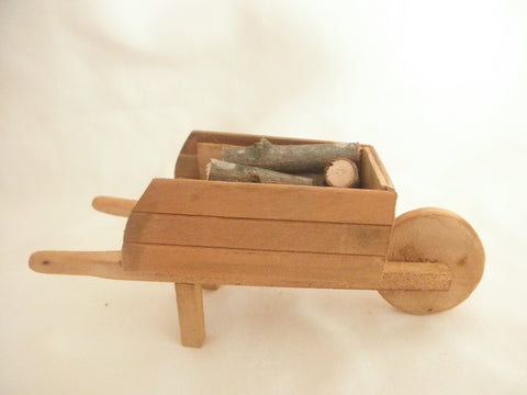 Miniature wood wheel barrel - Honey color