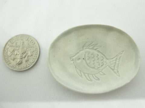 Miniature oval carved fish serving dish