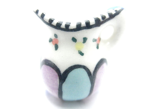 Miniature hand painted pitcher with pastel stripes