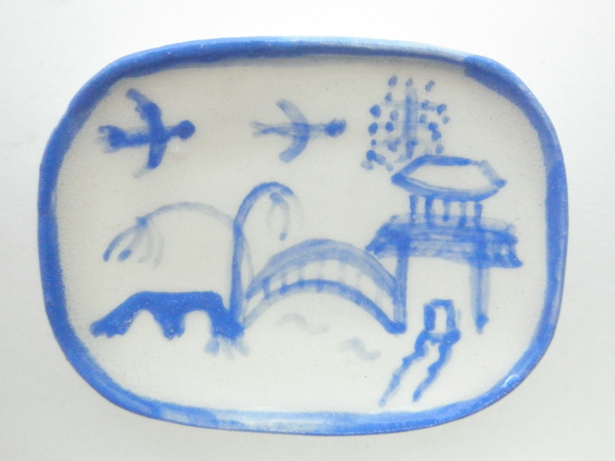 Blue and White Oriental Ceramic oblong plate - birds