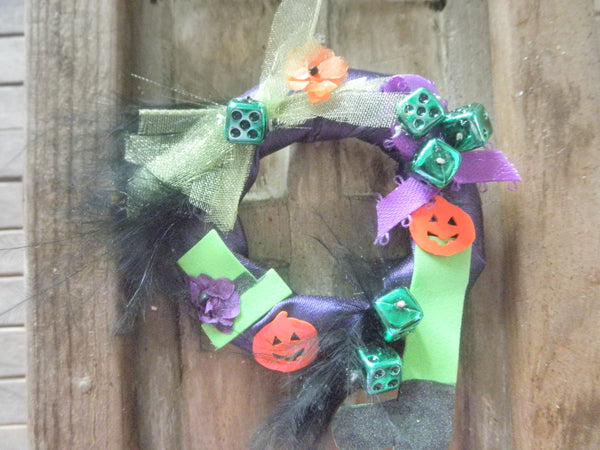 Miniature Halloween wreath - with witch leg