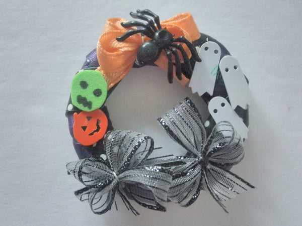 Miniature Halloween wreath - Grey bows