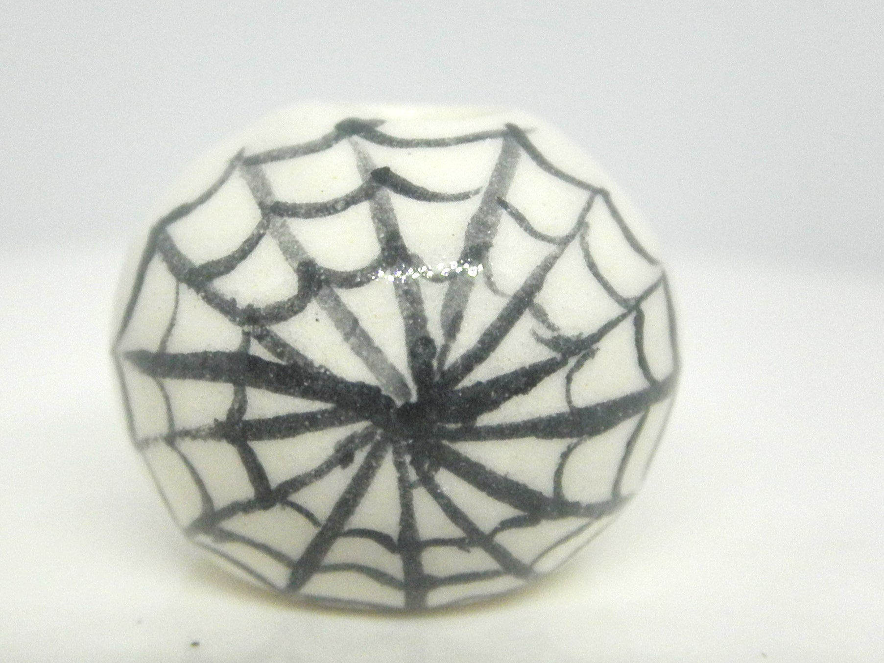 Miniature Ceramic Halloween white vase with spider web