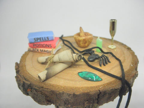 Miniature Halloween witchy items
