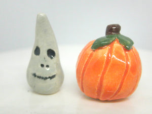 Miniature Ceramic Halloween set: monster and pumpkin