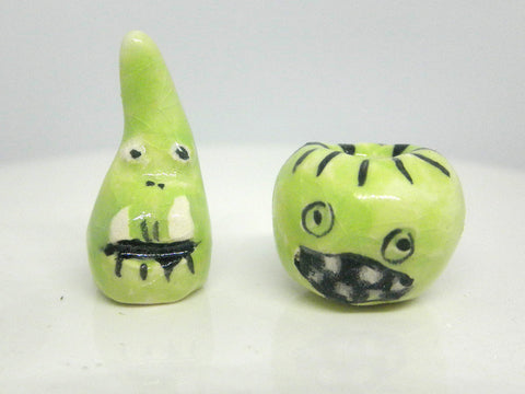 Miniature Ceramic Halloween set: two green monsters