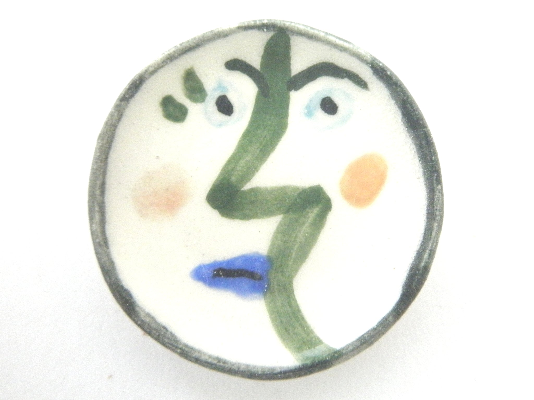 Miniature Picasso inspired small ceramic plate - face with green nose
