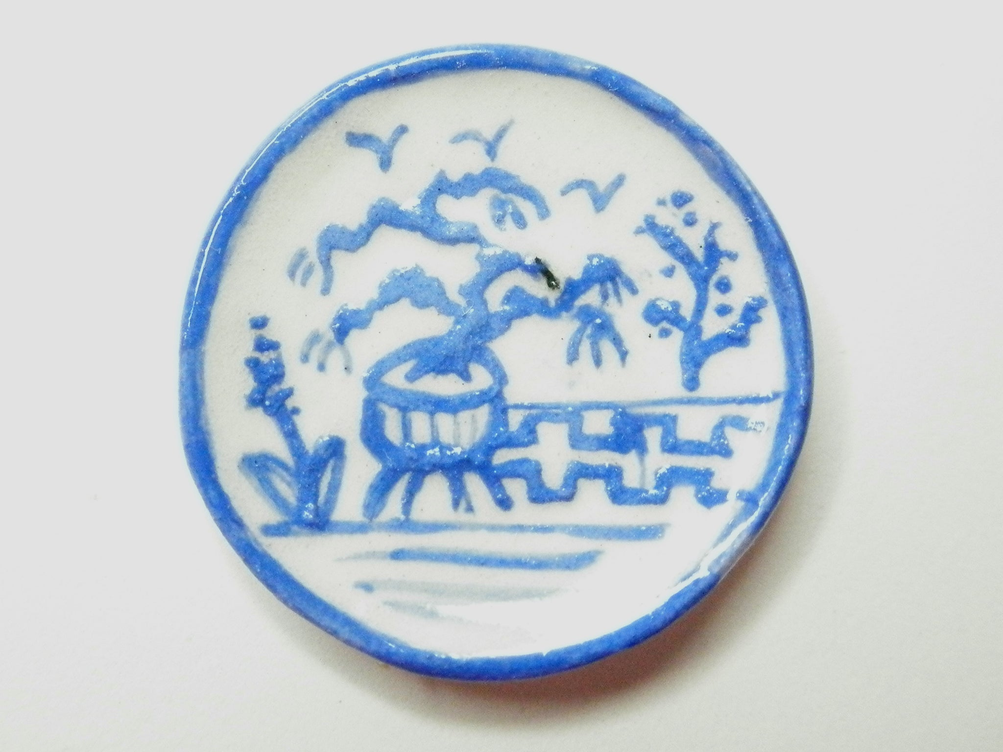 Blue and White Oriental Ceramic plate - potted tree