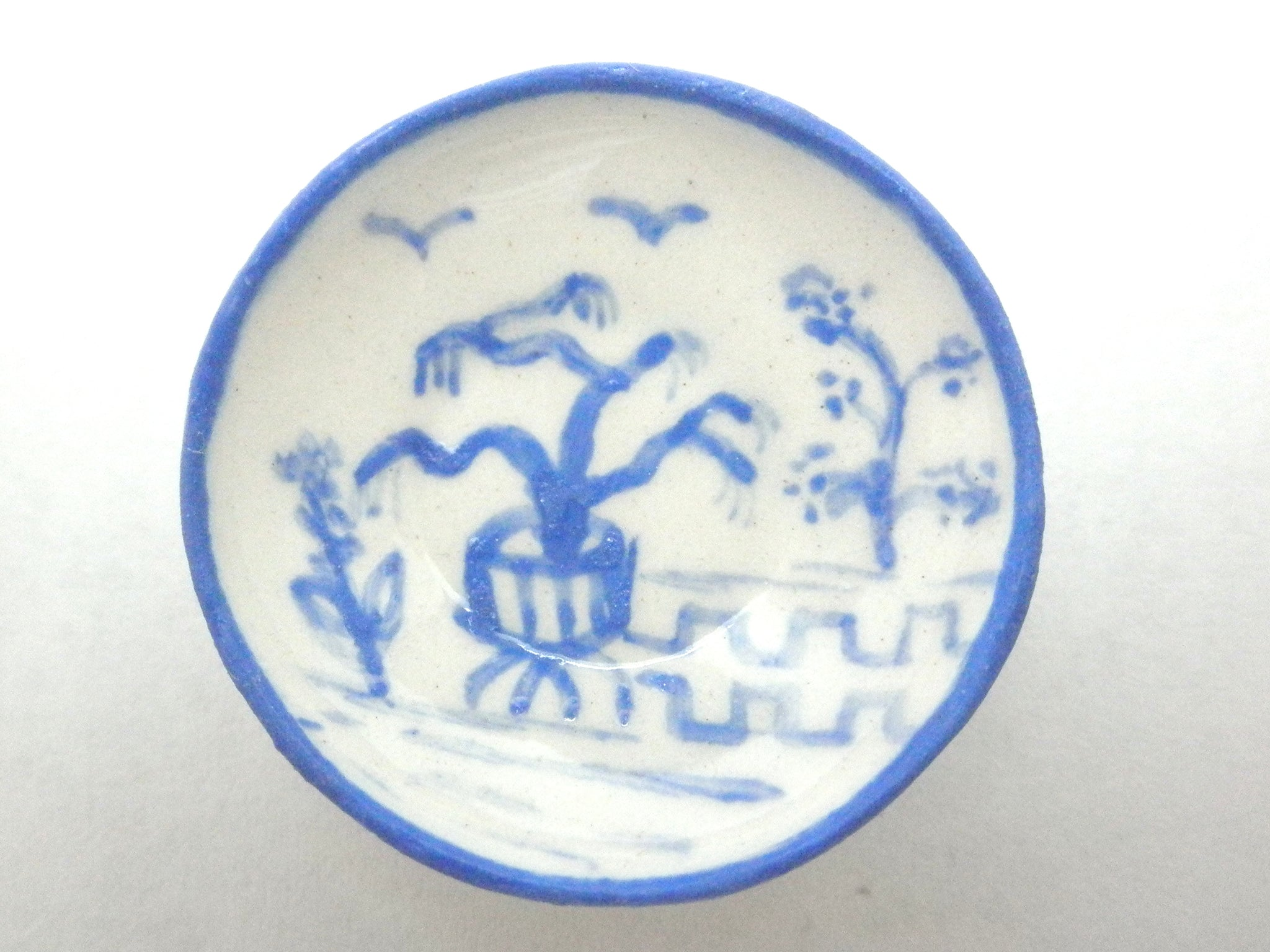 Blue and White Oriental Ceramic bowl - potted tree