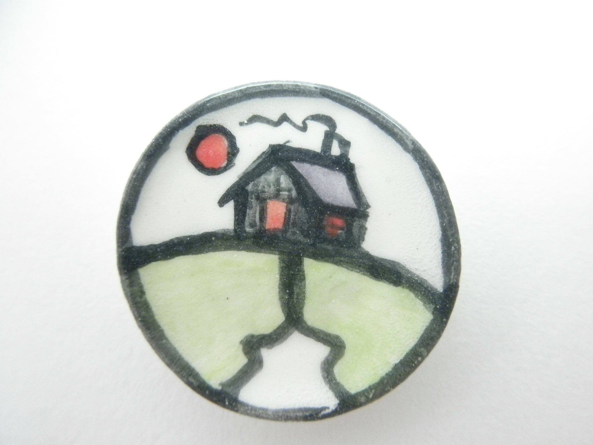 Miniature art deco ceramic plate - house with purple roof
